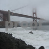Rocky shores on a foggy day near Golden Gate Bridge, San Francisco, CA